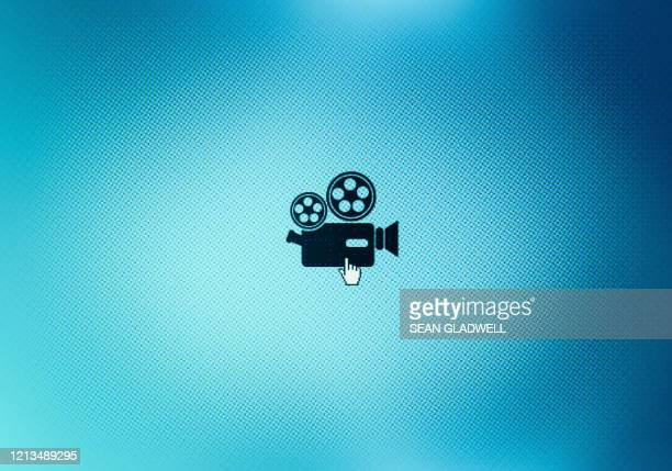 movie camera icon on screen - camera icon stock pictures, royalty-free photos & images