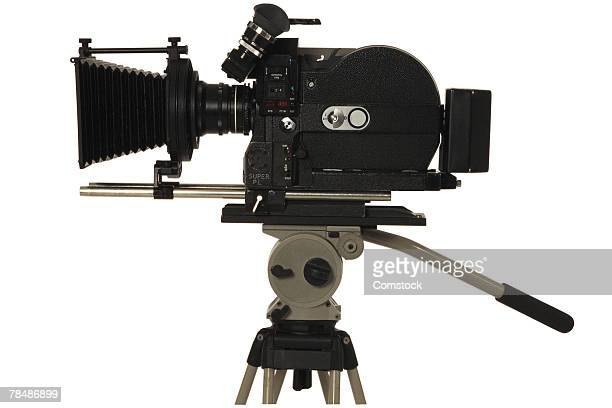 Movie camera on tripod