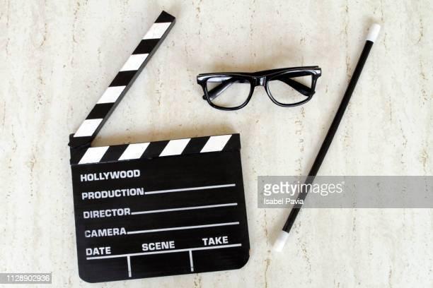 movie clapper. cinema concept. - ディレクター ストックフォトと画像