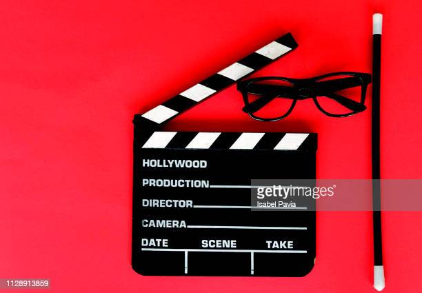 Movie Clapper On Red Background. Cinema Concept.