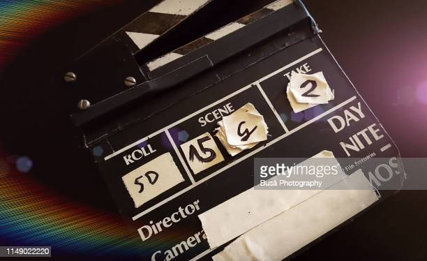 movie clapperboard - clapboard stock pictures, royalty-free photos & images