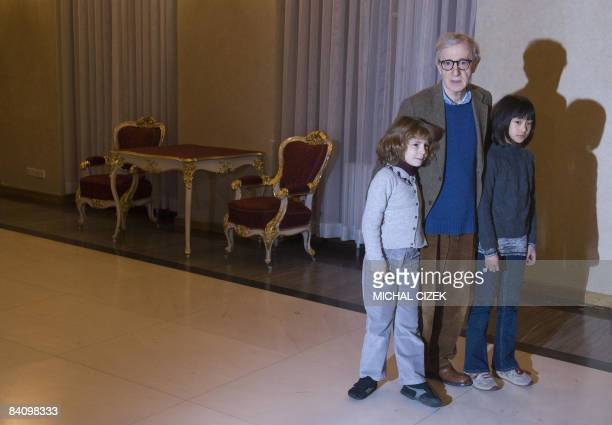 US Movie director and actor Woody Allen and his daughters Manzie and Bechet pose for photographers before his meeting with Czech President Vaclav...