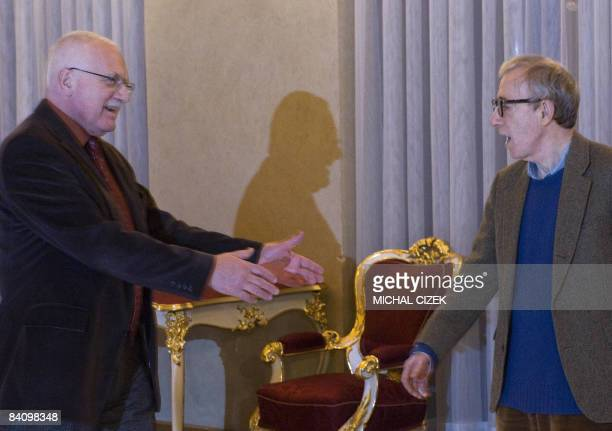 US Movie director and actor Woody Allen and his daughters Manzie and Bechet are welcomed by Czech President Vaclav Klaus on December 20 at the Prague...