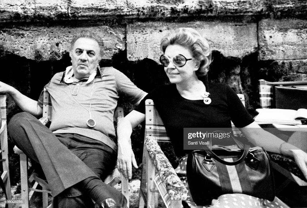 Movie Director Federico Fellini With Wife Giulietta Masina : News Photo