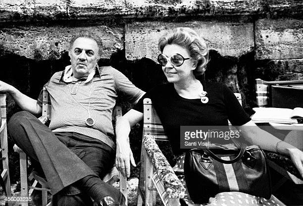 Movie Director Federico Fellini with wife Giulietta Masina on July 7 1975 in Rome Italy