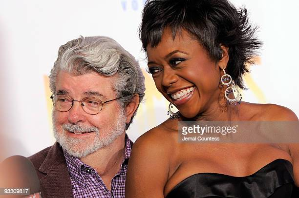 """Movie director George Lucas and Mellody Hobson attend the opening night of """"Dreamgirls"""" at The Apollo Theater on November 22, 2009 in New York City."""