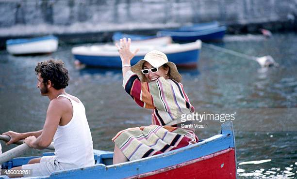 Movie Director Lina Wertmuller on a rowboat on August 1 1975 in Capri Italy