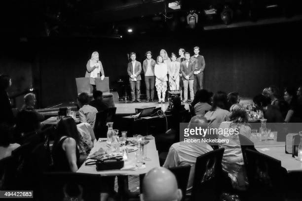 Movie director Linda Hoaglund introduces the crew for her movie The Wound and The Gift May 10 2014 during a fundraising event held at Le Poisson...