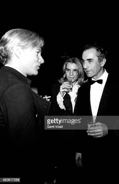 Movie Director Michelangelo Antonioni talking with Andy Warhol on December 5 1966 in New York New York