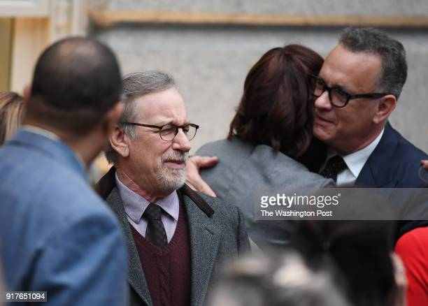 Movie director Steven Spielberg and actor Tom Hanks are seen before an event for former President Barack Obama and former First Lady Michelle Obama...