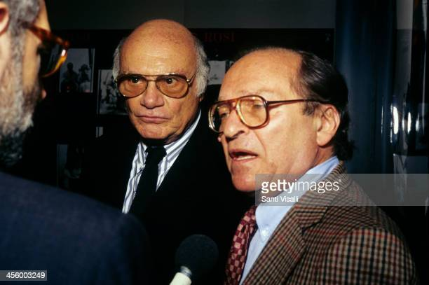 Movie Directors Francesco Rosi and Sidney Lumet talking to a reporter on November 3 1995 in New York New York