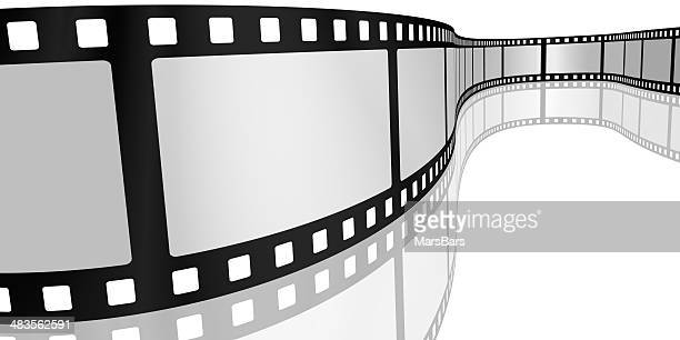 Movie film with blank frames on white
