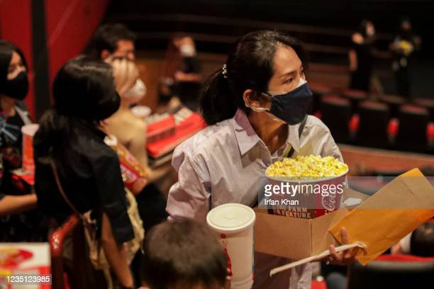 Movie goers at the screening of Shang-Chi and the Legend of the Ten Rings at AMC theater on Saturday, Sept. 4, 2021 in Monterey Park, CA.