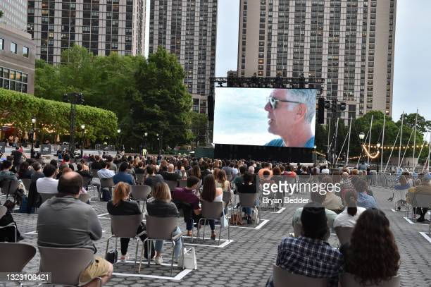 """Movie goers attend the 2021 Tribeca Festival Premiere of """"Roadrunner"""" at Brookfield Place on June 11, 2021 in New York City."""