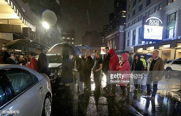 Movie goers cross Tremont Street for the Boston premiere screening of HBO's Marathon The Patriots Day Bombing at the Boch Center Shubert Theatre in...