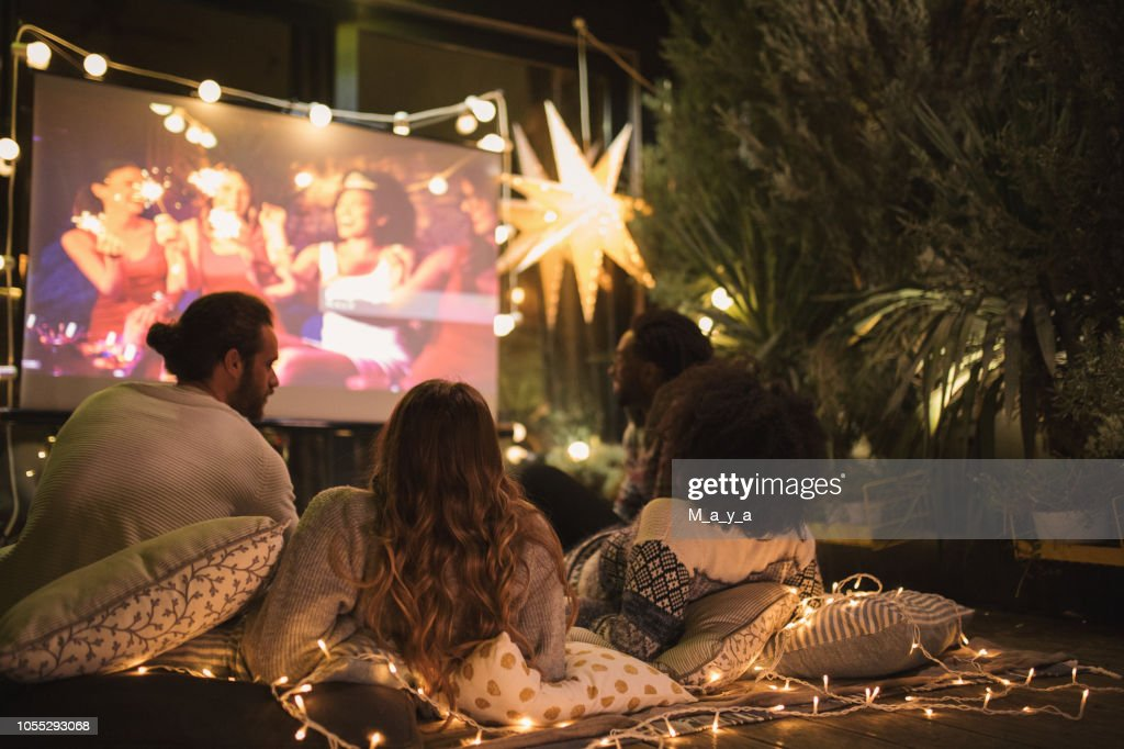 Movie night at back yard : Stock Photo