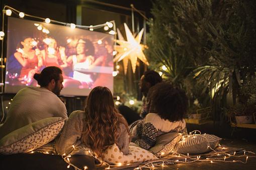 Movie night at back yard 1055293068
