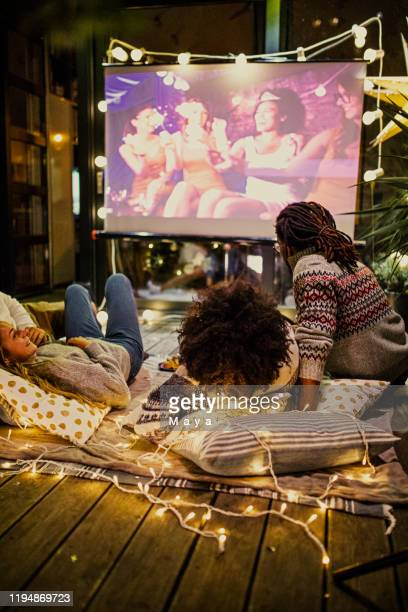movie night at back yard - projection equipment stock pictures, royalty-free photos & images