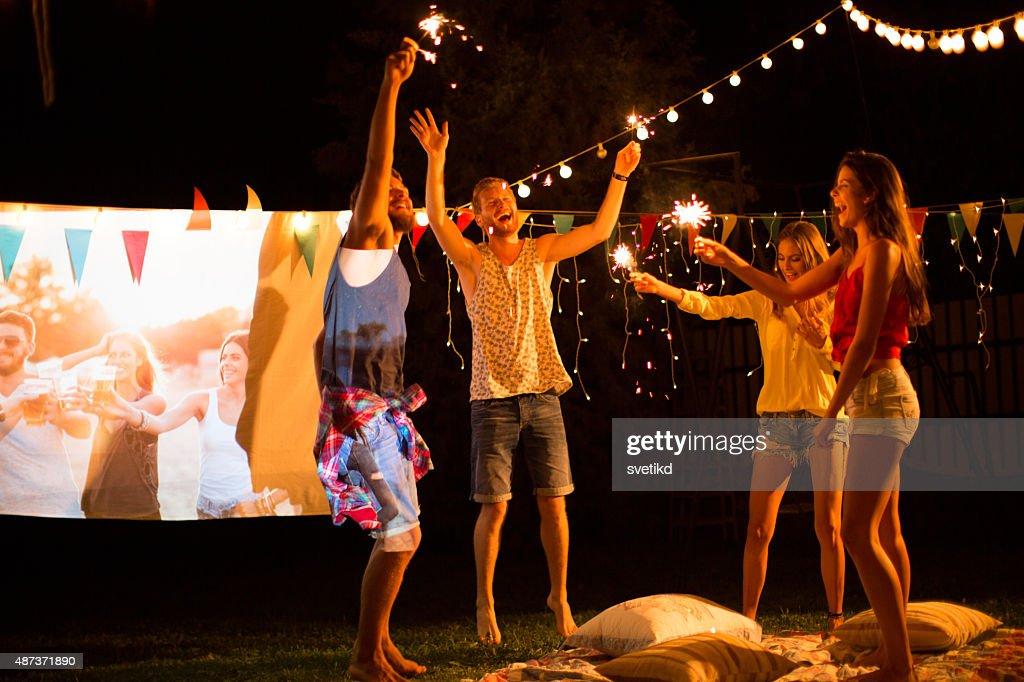 Spielfilm-Nacht-party. : Stock-Foto