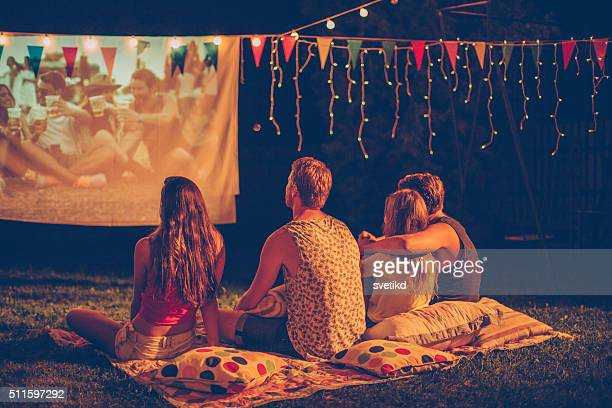 movie night with friends - the favourite film stock photos and pictures