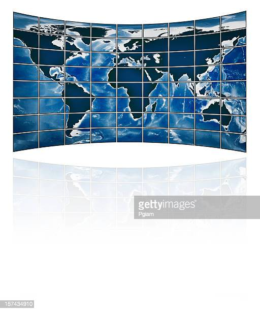 TV movie panels showing the continents isolated on white