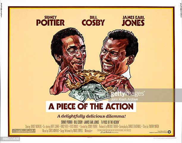 Movie poster advertises 'A Piece of the Action' 1977 The comedy stars Sidney Poitier Bill Cosby James Earl Jones Denise Nicholas and Tracy Reed
