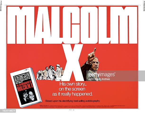 Movie poster advertises director Arnold Perl's biographical documentary 'Malcolm X' with narration by James Earl Jones 1972