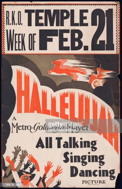 Movie poster advertises 'Hallelujah,' directed by King Vidor and starring Daniel Haynes, Nina Mae Mckinney, Victoria Spivey, and Matthew 'Stymie'...