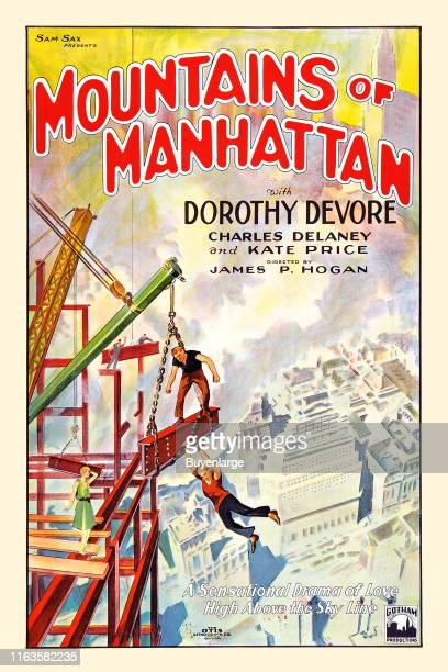Movie poster advertises 'Mountains of Manhattan' 1927 It stars Charles Delaney and Kate Price and was directed by James P Hogan