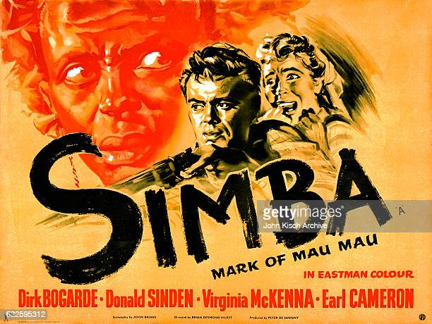 Movie poster advertises the British release of 'Simba Mark of the Mau Mau' starring Ben Johnson Earl Cameron Orlando Martins Dirk Bogarde Donald...