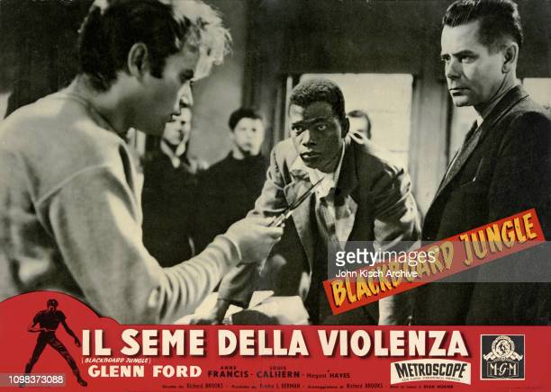 Movie poster advertises the Italian release of 'Blackboard Jungle' starring Glenn Ford Sidney Poitier and Vic Morrow 1955