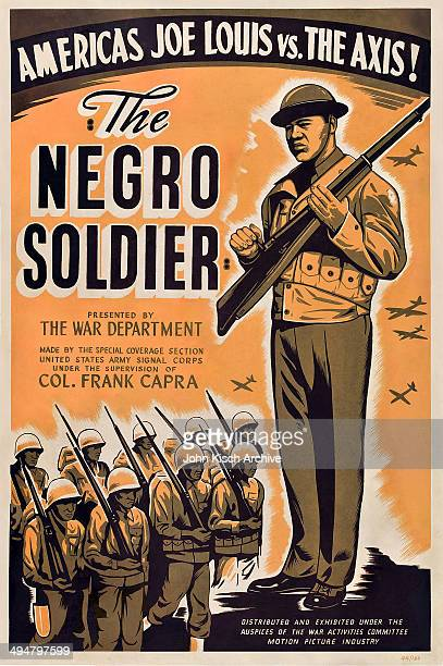 Movie poster advertises 'The Negro Soldier' a military documentary directed by Frank Capra and starring boxer Joe Louis 1944