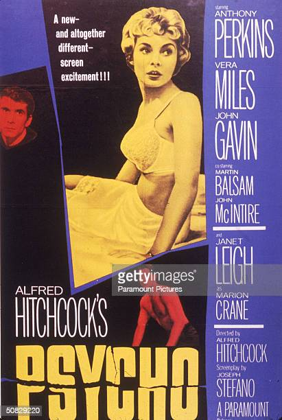 Movie poster for director Alfred Hitchcock's classic film 'Psycho' shows American actors Anthony Perkins John Gavin and Janet Leigh 1960 Text at...