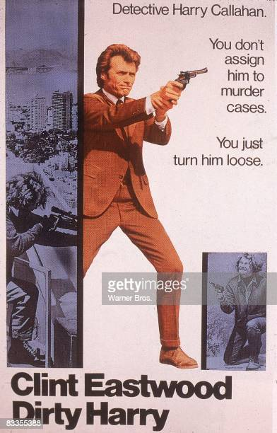 Movie poster for director Don Siegel's film 'Dirty Harry', featuring American actor Clint Eastwood as Harry Callahan and Andrew Robinson as the...