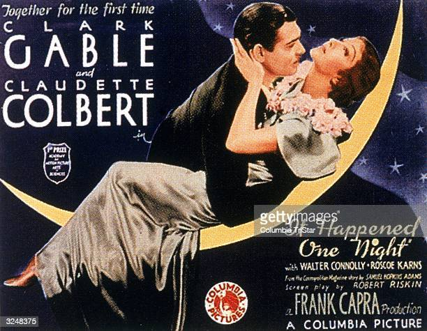 Movie poster for director Frank Capra's film 'It Happened One Night' featuring American actors Clark Gable and Claudette Colbert embracing on a...