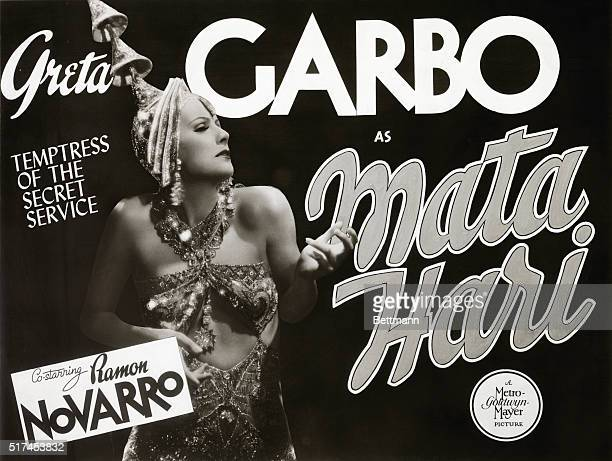 Movie poster for Greta Garbo in Mata hari MGM 1931 movie. Temptress of the Secret Service old.
