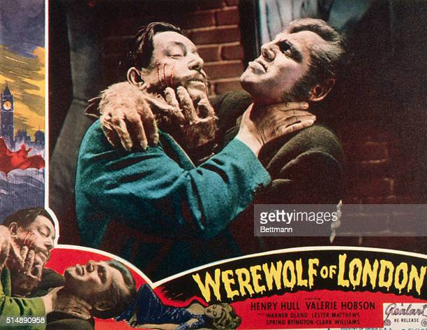Movie poster for the 1935 Universal Pictures production Werewolf of London Depicts a werewolf attacking a male victim
