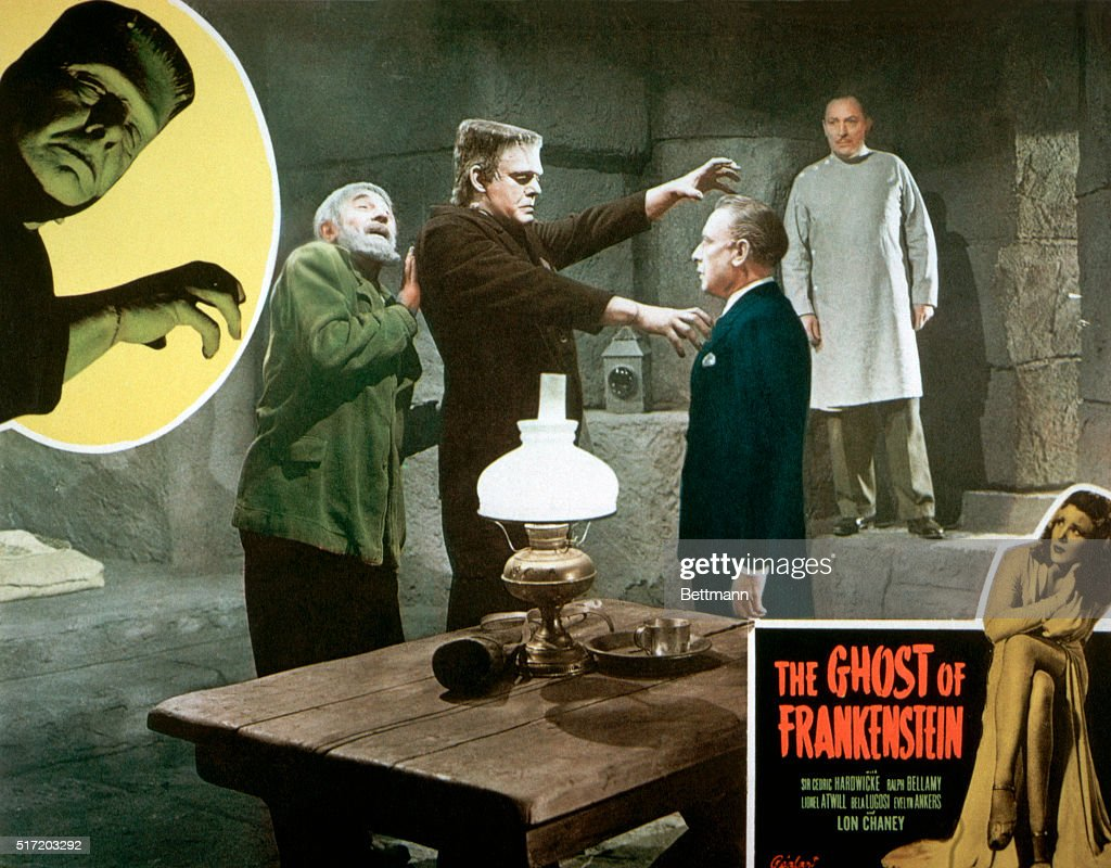 A movie poster for the 1942 Universal Pictures release The Ghost of Frankenstein pictures Bela Lugosi as Ygor, Lon Chaney, Jr. as the monster, Lionel Atwill as Dr. Frankenstein, and Sir Cedric Hardwick as Dr. Bohmer