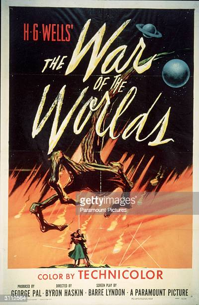 Movie poster for 'The War Of The Worlds' based on the novel by H G Wells and directed by Byron Haskin 1953
