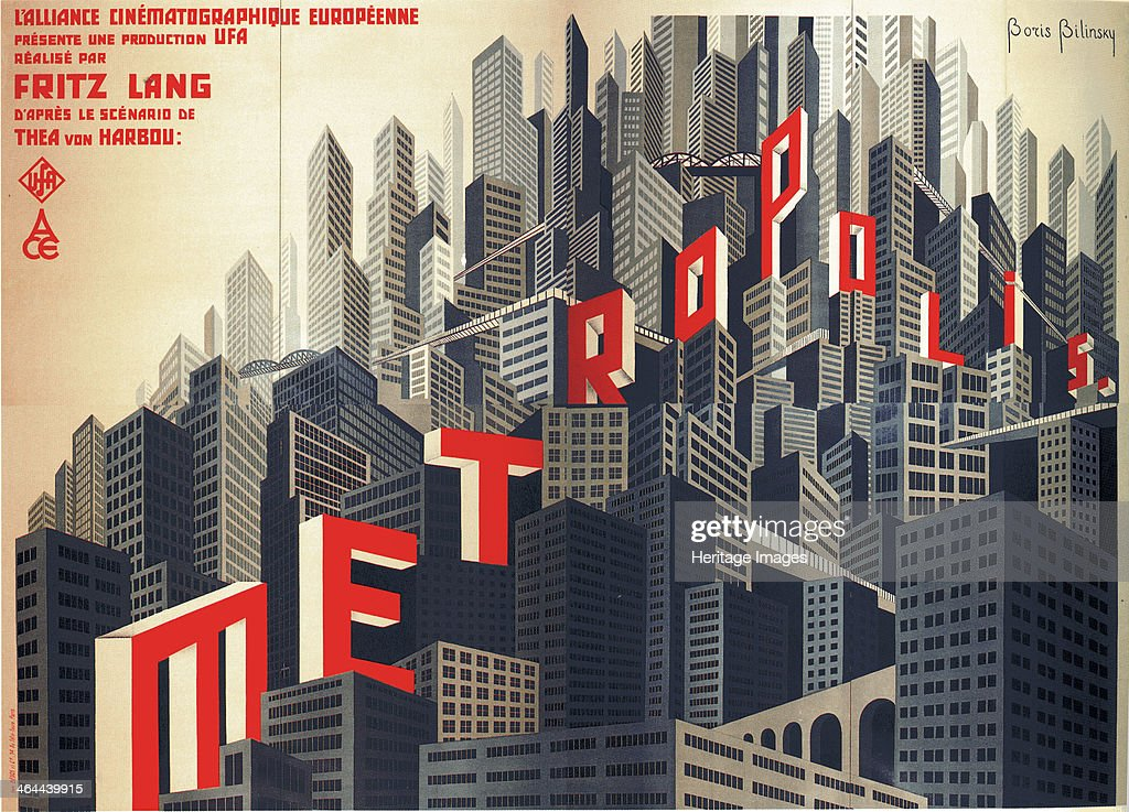 Movie poster Metropolis by Fritz Lang, 1926. Artist: Bilinsky, Boris Konstantinovich (1900-1948) : News Photo