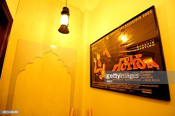 Movie poster of 'Pulp Fiction' on the wall of the office of Little Black Book Delhi on January 31 2013 in New Delhi India Founded in 2012 by Suchita...