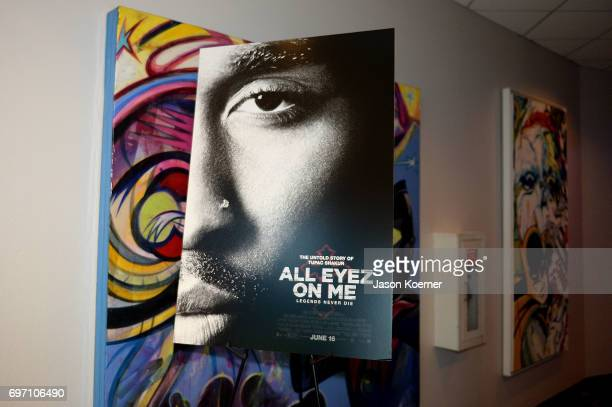 A movie poster on display at the All Eyez on Me ABFF Screening at Regal South Beach Cinema on June 17 2017 in Miami Beach Florida