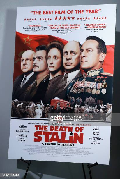 Movie poster on display during the 'The Death Of Stalin' New York premiere at AMC Lincoln Square Theater on March 8 2018 in New York City