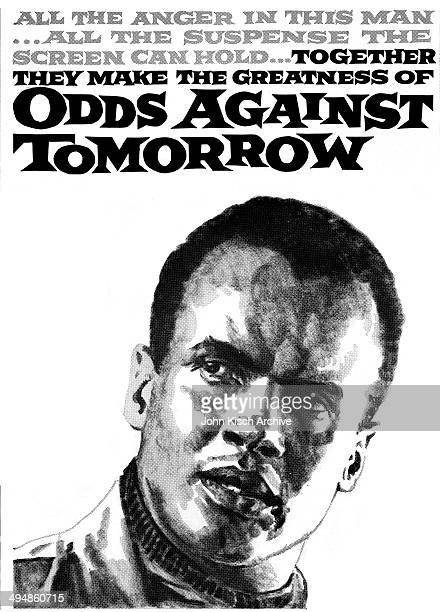 Movie poster pressbook advertises the drama 'Odds Against Tomorrow' starring Harry Belafonte Robert Ryan Ed Begley Sr Shelley Winters and Carmen...