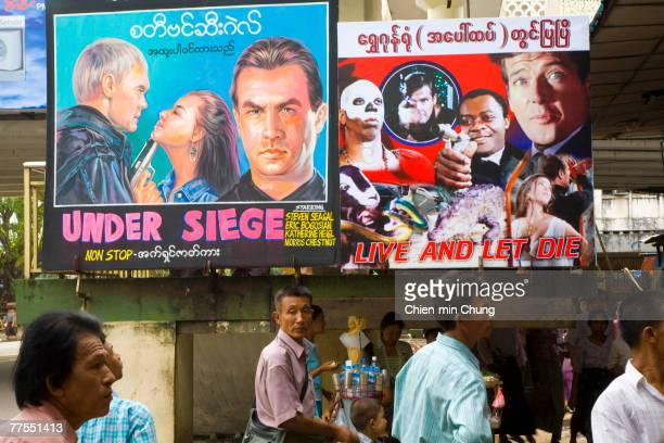 Movie posters advertise decades old films playing downtown October 7 2007 in Rangoon Burma Despite international appeals for restraint in dealing...