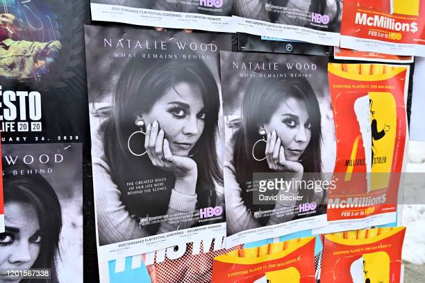 Movie posters featuring HBO's Natalie Wood What Remains Behind is displayed during the 2020 Sundance Film Festival hang along Main Street on January...