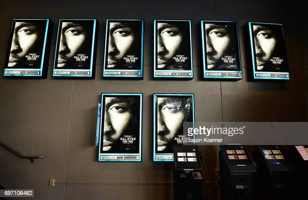 Movie posters on display at the All Eyez on Me ABFF Screening at Regal South Beach Cinema on June 17 2017 in Miami Beach Florida