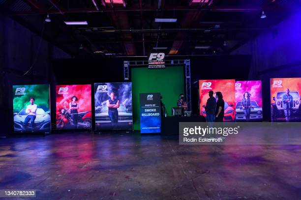 Movie posters on display at the F9 Fest event on the Universal Studios backlot celebrating F9: The Fast Saga on September 15, 2021 in Universal City,...
