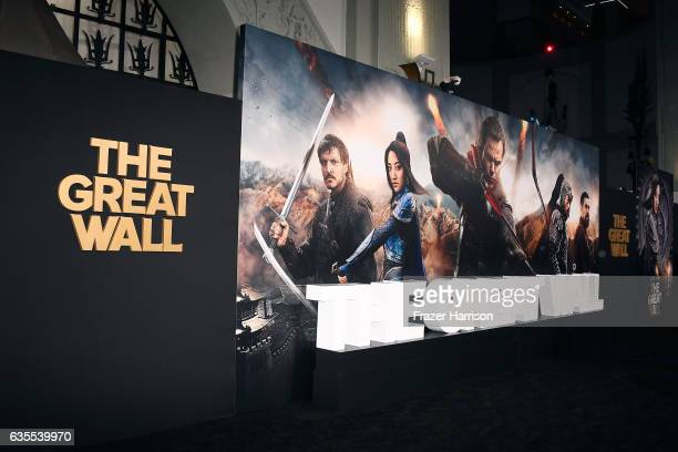 Movie posters on display at the premiere of Universal Pictures' 'The Great Wall' at TCL Chinese Theatre IMAX on February 15 2017 in Hollywood...