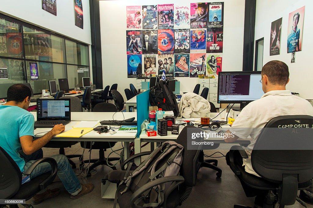 Startup Entrepreneurs At Jerusalem Venture Partners Tech Hub : News Photo